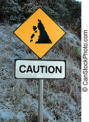 landslide sign in snow - a landslide sign in county kerry...