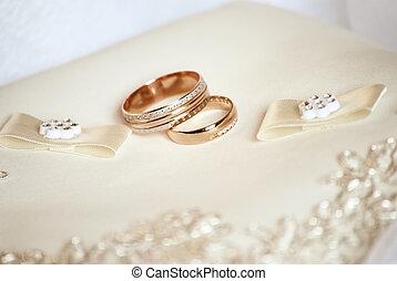 stillife - wedding still life. two rings on pad