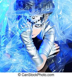 eccentric - Shot of a futuristic young woman.
