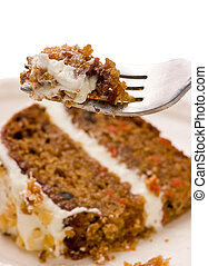 Walnut Carrot Cake On A Fork - Close up of creamy sweet...