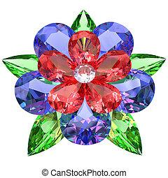 flor, compuesto, coloreado, piedras preciosas