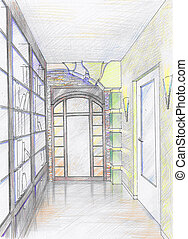 Hand drawn sketch of hallway - Hand drawn sketch of interior...