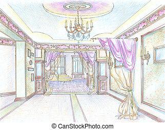 Interior of classic restaurant hall