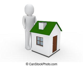 3d man house green energy home estate