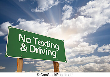 No Texting and Driving Green Road Sign with Dramatic Sky,...