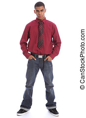 Smart young African student in jeans shirt and tie - Smartly...