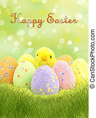 happy easter card - Happy easter card with eggs and chickens...