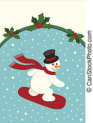 Snowboarding Snowman - A Christmas image of a snowboarding...
