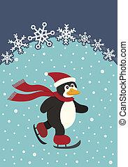 Penguin Skating - A Christmas image of a skating Penguin.