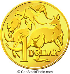 vector Australian Money, gold Dollar with the image of a...
