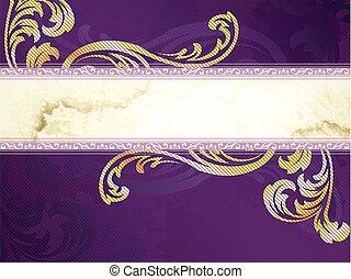 Golden Victorian vintage banner - Elegant gold and purple...