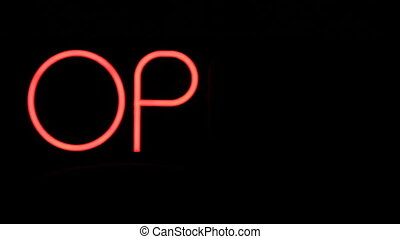 Neon Open Sign - Live action Neon Open Sign flashes at night