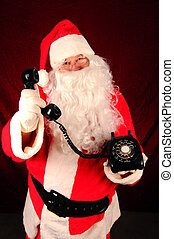 Santa Claus with Telephone - Santa Claus holding an old...