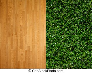 Flooring - A close up image of artificle grass and timber