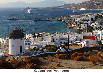 Windmills of sunny Mykonos Greece, Cyclades