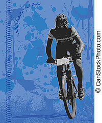 Mountain biker on grunge background
