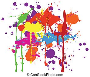 ink splats - Multicolored ink splats on white background.