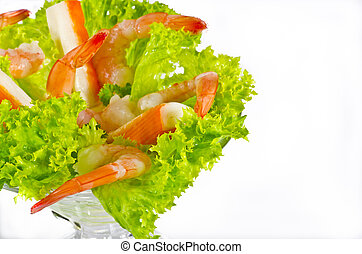 Shrimp salad - Shrimp are swimming, decapod crustaceans...