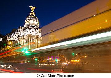 Gran via street in Madrid, Spain at night.