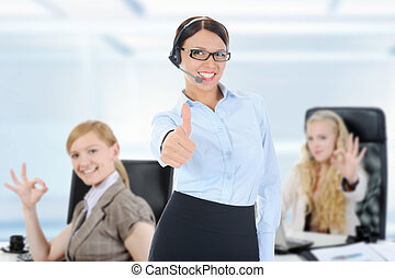 business team in an office - picture of the business team in...