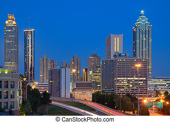 Downtown Atlanta Cityscape - View of skyscrapers in downtown...