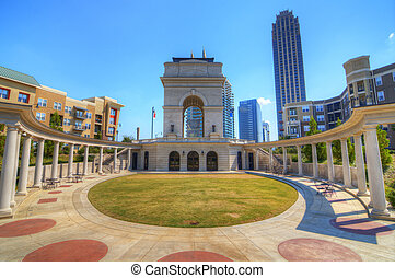 Millenium Gate triumphal arch at Atlantic Station in Midtown...