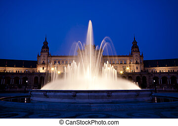 Plaza de Espana in Seville, Spain - A view of the Plaza de...