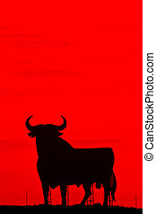Spain,silhouette of a bull.