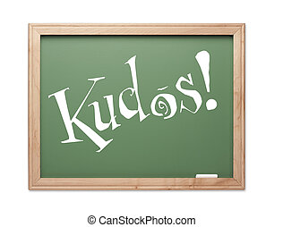 Kudos Green Chalk Board Series on a White Background