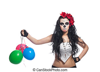 disappointed woman in dead mask with ballons - disappointed...