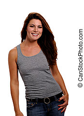 Smiling woman wearing jeans & a gray tank top - Cute...