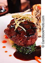 filet mignon - Grilled filet Mignon over mashed potatoes &...
