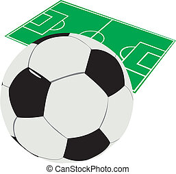 Football - Soccer ball against the mark of a football field