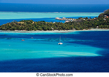 Bora Bora - View over beautiful turquoise lagoon of...