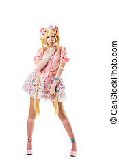 Young woman in lolita costume cosplay isolated - Young woman...