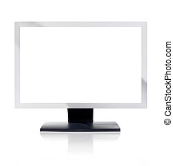 Computer Monitor with blank white screen