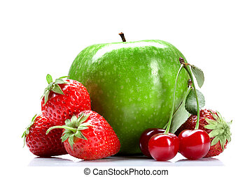 Summer fresh fruits isolated on white