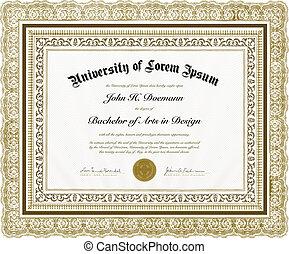 vector, florido, Diploma, marco