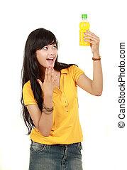 teenage girl with orange juice
