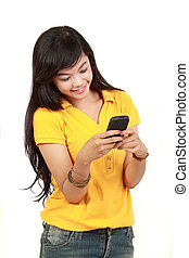 young girl text a message