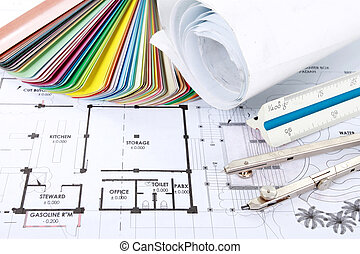architect concept of design and project drawings on table