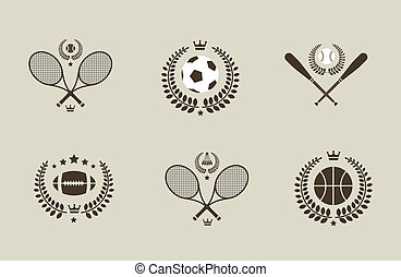 Sport emblems of soccer tennis baseball basketball