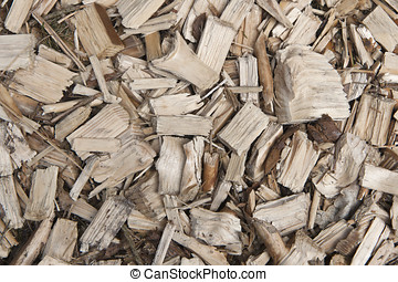 Wood Chips - Close up on a pile of wood chips. Can be used...