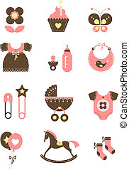 Baby icons - girl - Cute baby icons for postcards, charts,...