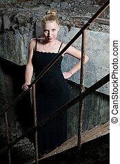 Beautiful young woman posing in the ruins - Beautiful chick...