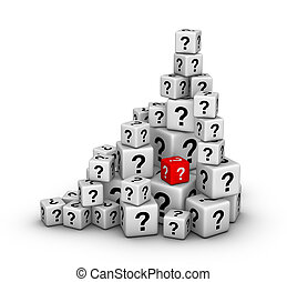 pile of dices with question marks - pile of big and small...