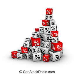 Stack of boxes with percent sign (sales or finance concept)