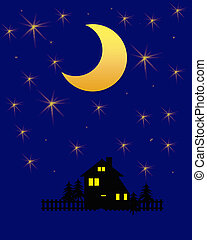 starry night - golden moon and twinkling stars on indigo...
