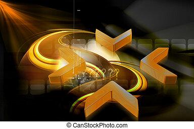 Arrow sign - Digital illustration of arrow sign colour...