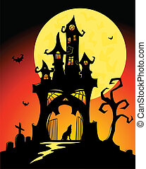 Halloween castle - Black halloween castle and moon Vector...